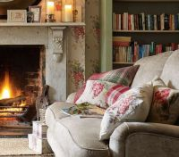 Keeping warm by the open fire in a cottage living room ...