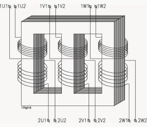 Schematic diagram of a threephase transformer | Power