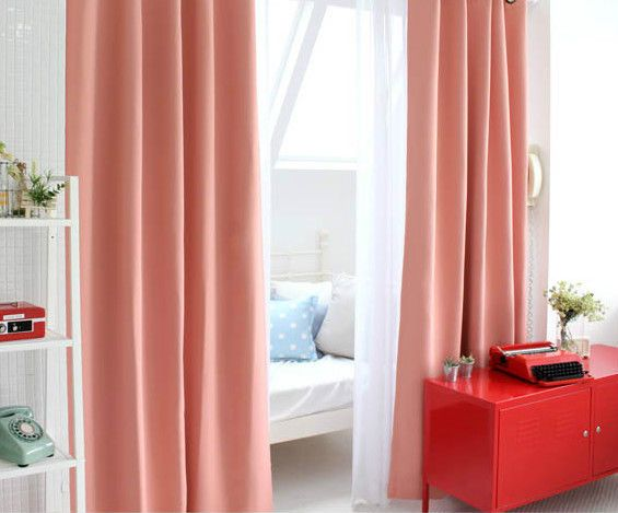 "1 Pair Coral Pink Curtains 84"" X 84"" New In Package For Marissa"