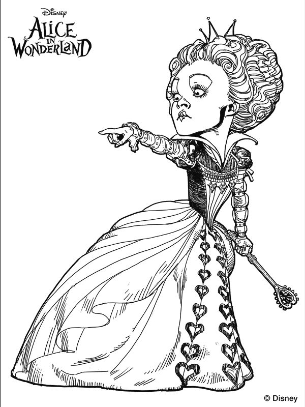 Tim Burton's Alice in Wonderland colouring page