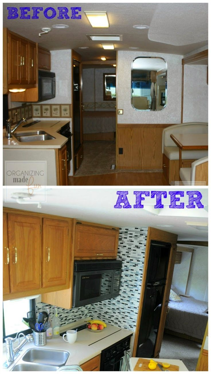 kitchen cabinet spice rack sink light fixtures before and after of rv update :: organizingmadefun ...