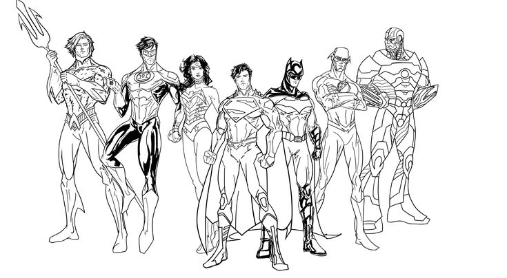 Justice League Line Art WIP (New 52 Super Seven) by