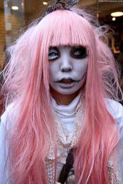 pink hair black eye white