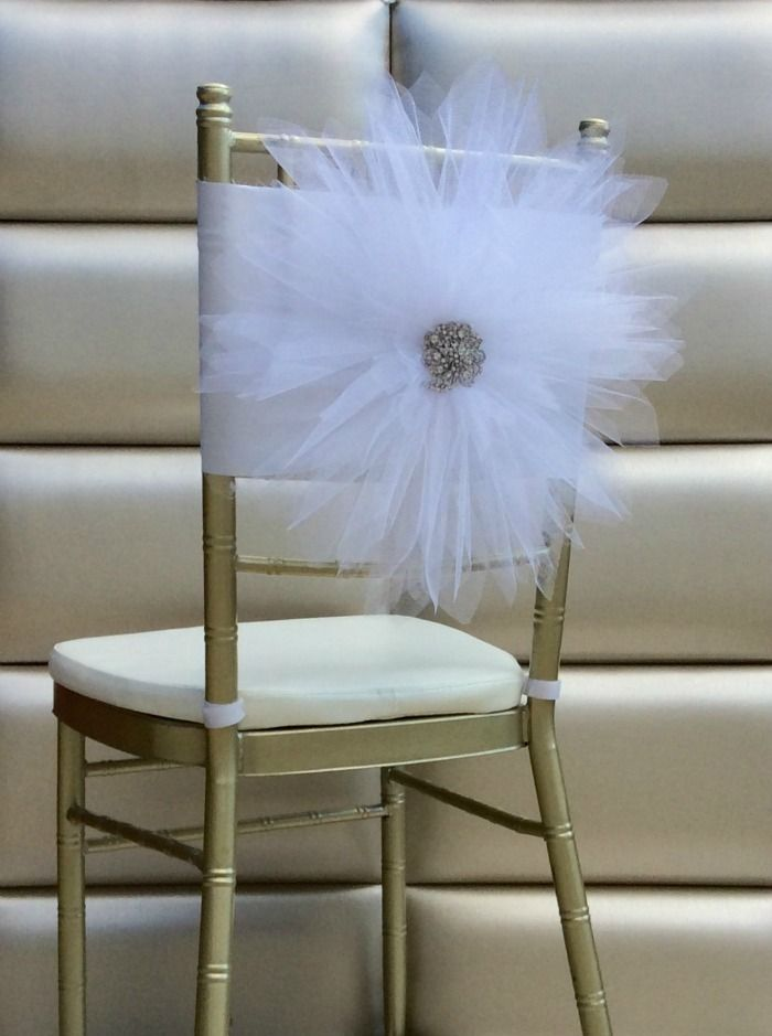 chair covers with bows attached painted table and chairs uk freya rosa large tulle taffeta flower back cover brooch center   wedding & event ...