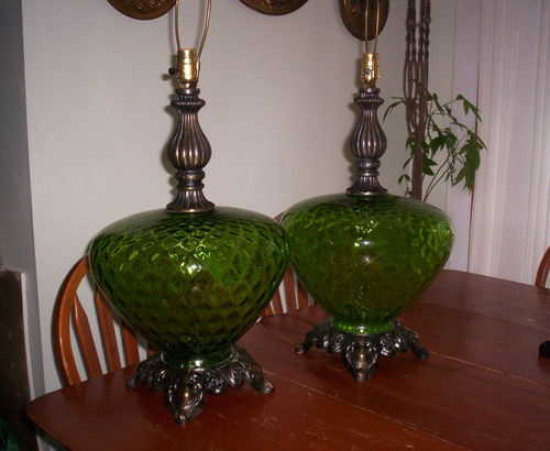 Vintage Carl Falkenstein Table Lamps Pair Green Bubble