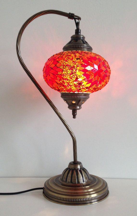 Burnt Orange Swan Neck Turkish Mosaic lamp with vintage look metal base  Metals Vintage and
