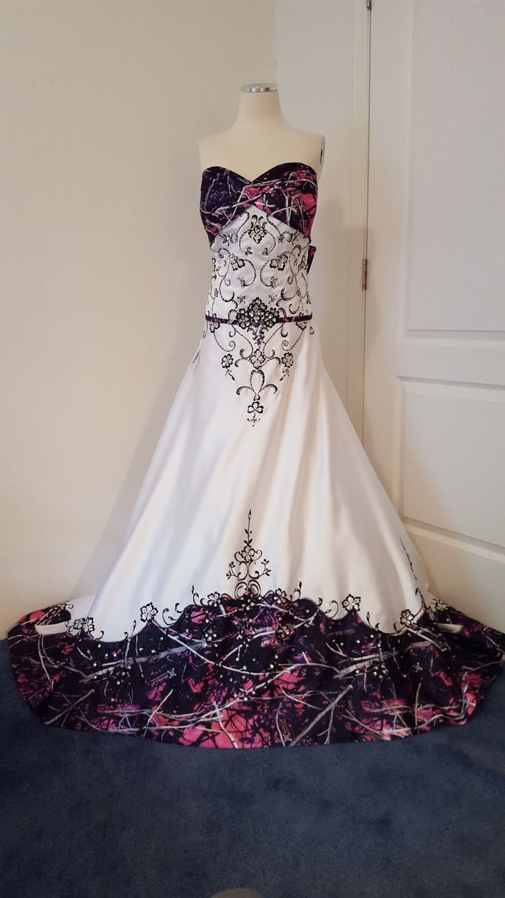 ANITA wedding gown with Muddy Girl camo as the accent
