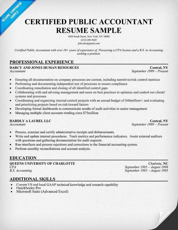 sample resumes cpa tax