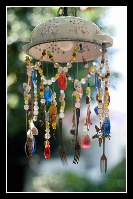 Colander Cutlery And Bead Windchime Spoon Fork Crafts Pinterest Gardens Recycled