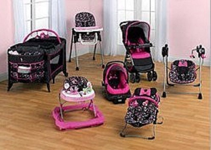 baby chair swing pink high sale minnie mouse newborn set girl infant shower gift disney travel system | ...