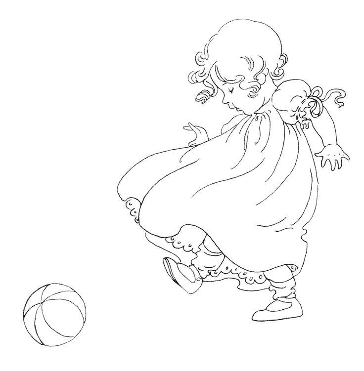 girl kicking ball, vintage baby clip art, black and white