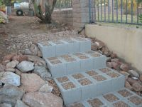concrete block steps DIY. better than climbing the ...