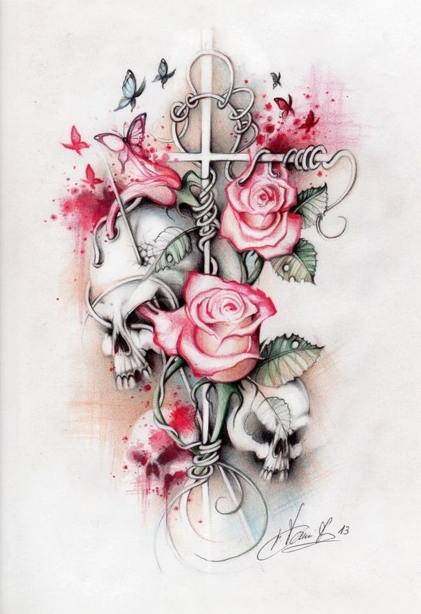 gorgeous tattoo idea, not so much a fan of the skulls but love the roses.