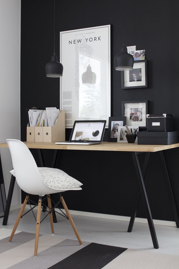 "There's something so elegant about a black accent wall. Still afraid to try it as a bedroom color, but perhaps for a home office? -VV gravity-gravity: "" Source "":"