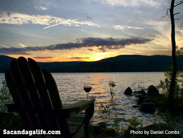 Sunset on the Great Sacandaga Lake with Adirondack chair
