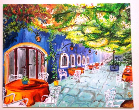 Italian Cafe Painting  Home Decor Paintings  Pinterest