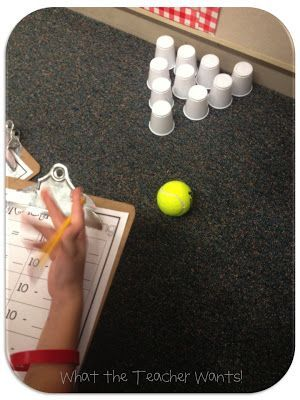 Great idea for subtraction. Set up ten cups, have the students bowl the tennis ball towards the cups, and create a subtraction