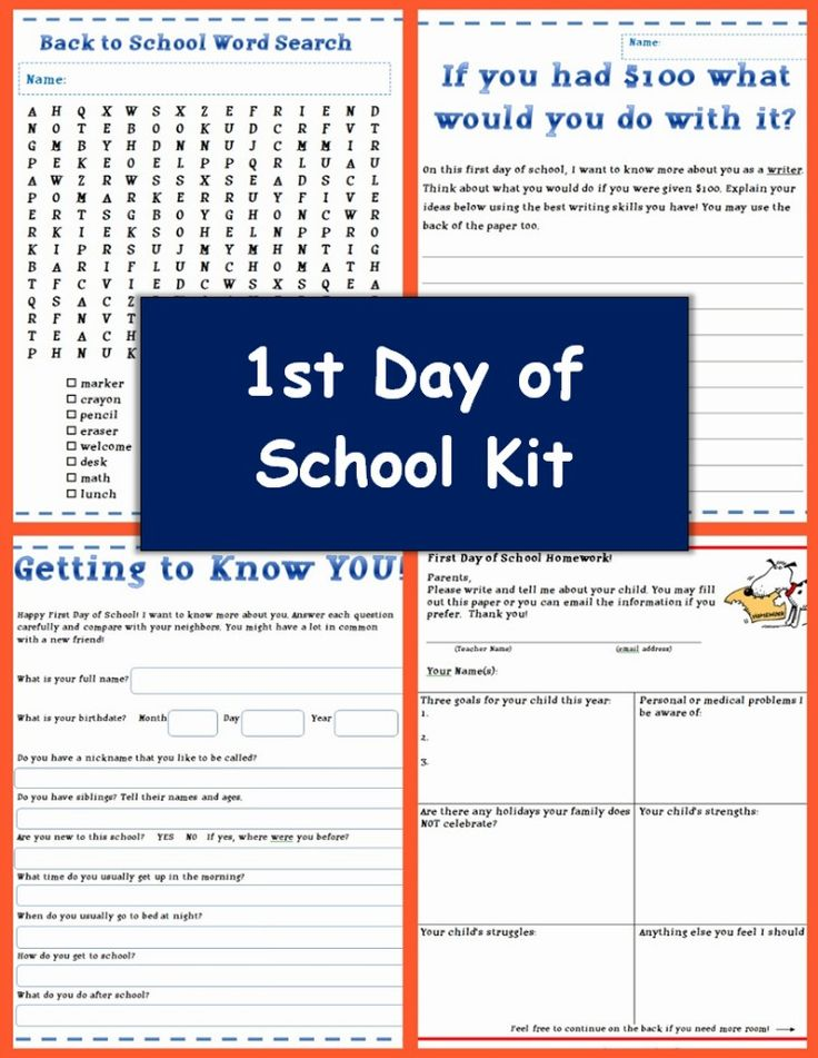 First day of school activity packet from Betsy Weigle at Classroom Caboodle.