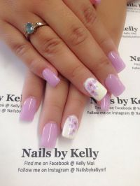 Gel nails, Spring flowers and Easter nail designs on Pinterest