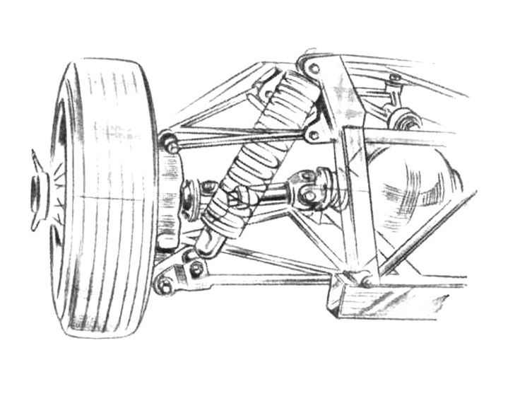 Elva Courier, double wishbone independent rear suspension