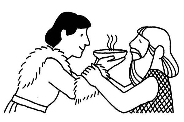 Jacob Offered Esau a Bowl of Stew in Jacob and Esau