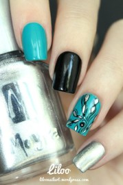 teal black and sparkly silver