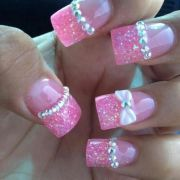 pink. glitter. french tip. rhinestones