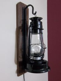 Rustic electric lantern wall sconce. | bathroom lights ...