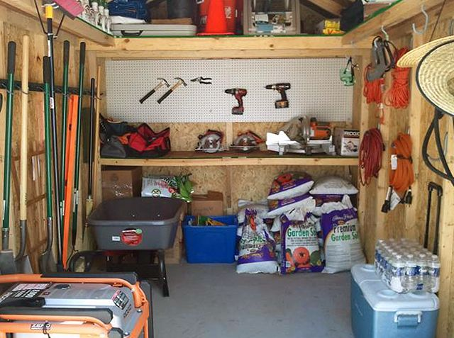A Storage Shed That Is Very Tidy And Organized Things