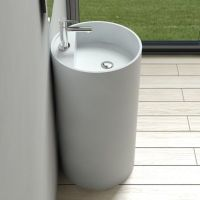 Free Standing Solid Surface Stone Modern Pedestal Sink 18 ...