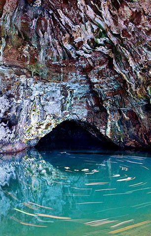A swim in this Blue Room in Kauai takes your breath away.  An old volcano tube l