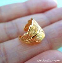 Detailed leaf ear cuff, Gold earcuff earring clip, Unique ...