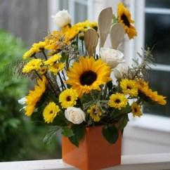 Primitive Kitchen Decorating Ideas Table Centerpiece Sunflower Utensils Arrangement | Flowers ...