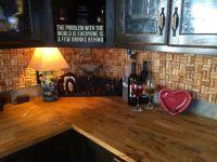 Wine Cork Backsplash - Repurposed Cabinets from Kitchen ...