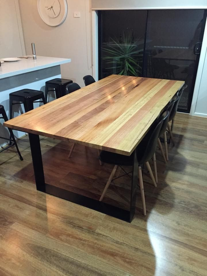 Custom table for a client 2200 x 990 x 750 90 x 32 timber boards used blackbutt messmate vic