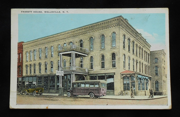 wellsville NY photos   Fassett House Old Cars Bus Wellsville NY Allegany Co Postcard New