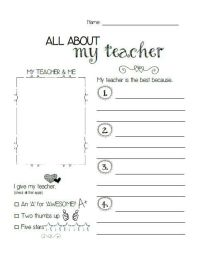 """All About My Teacher"" Printable 