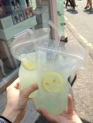 Adult Capri Suns--Bag o' (vodka) lemonade - perfect for the beach! best idea ever. Pure stinkin genius. Freeze it first and take to beach and squeeze to make it slushy--this way it won't get watered down :):