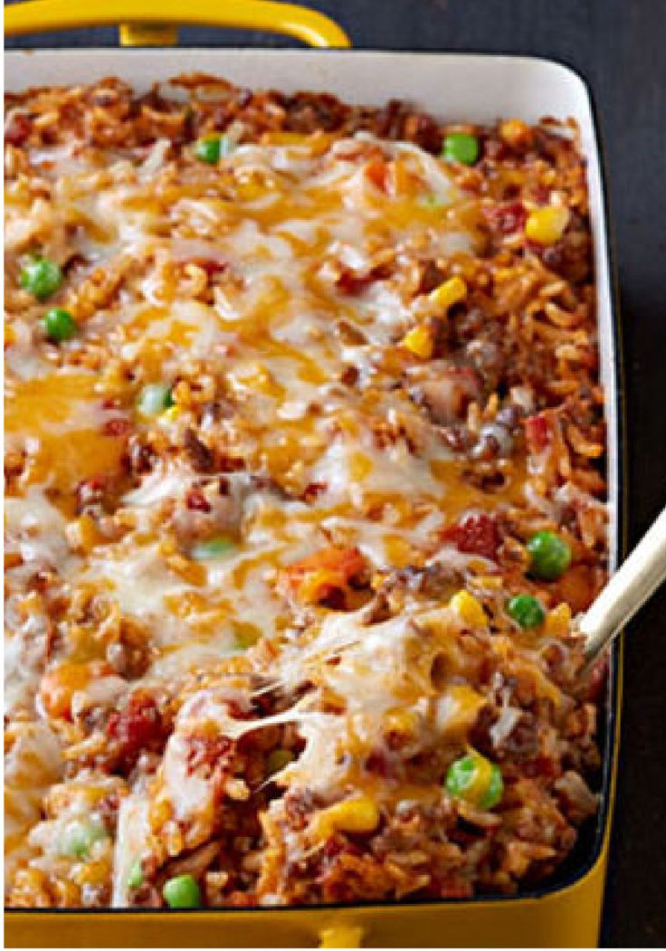 Mexican Beef and Rice Casserole – Here's a tasty—and Healthy Living—way to make a pound of ground beef serve eight: a