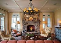 Cozy cottage living room with stone fireplace | Living ...