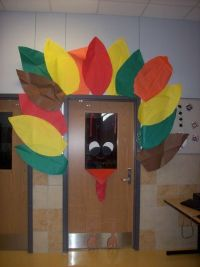Thanksgiving turkey classroom door.