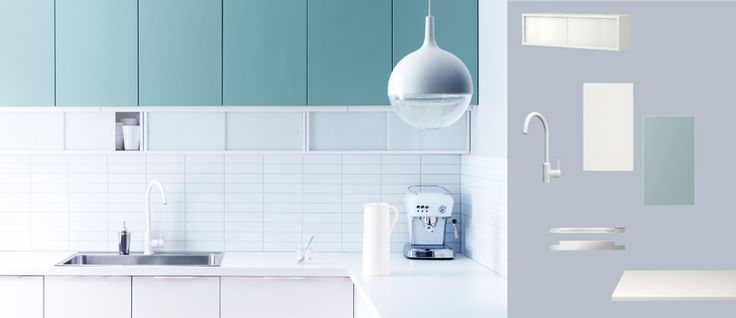 FAKTUM kitchen with APPLD white doorsdrawers and RUBRIK APPLD light turquoise doors  Pale