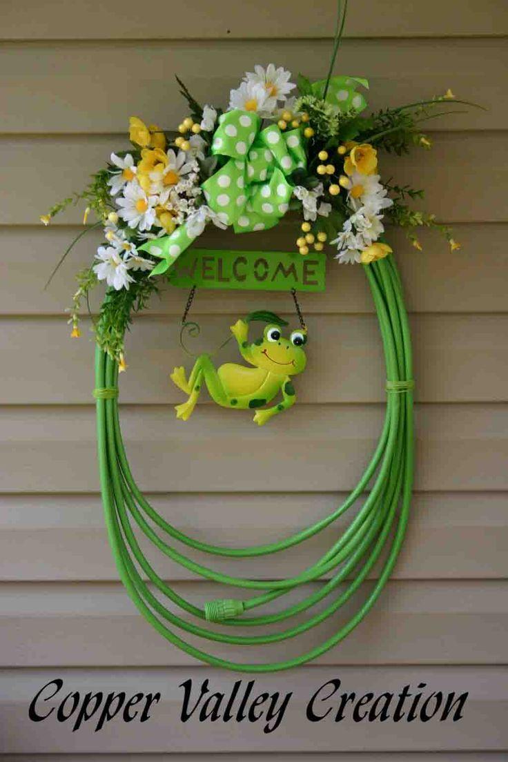 25+ best ideas about Garden Hose Wreath on Pinterest
