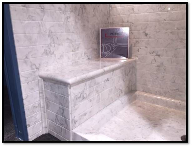 US Marble Shower Custom built Bench Seat Shown in London Fog Cultured Onyx  Shower Designs