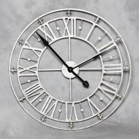 Large round roman numerals silver metal iron wall clock ...