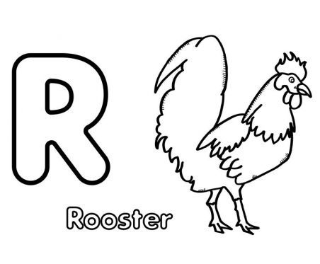 R is for Rooster Coloring Page