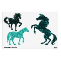 Vintage Pattern Turquoise Teal Horse Set Wall Sticker ...