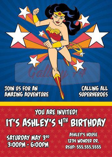 Custom Wonder Woman Birthday Invitation Printable Digital