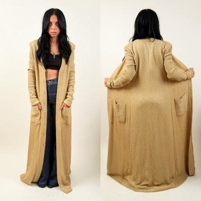 vtg 70s GOLD METALLIC KNIT Floor length sweater jacket