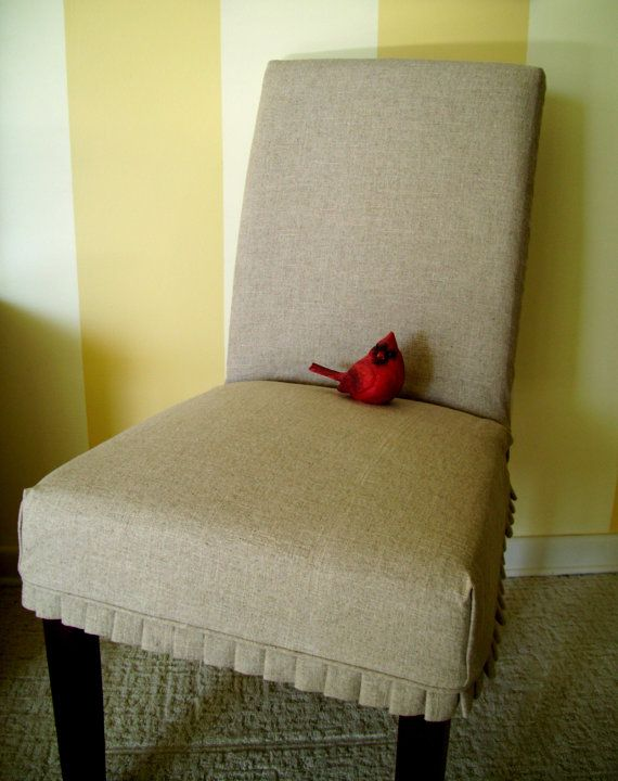 Slipcover Parson Chair Slipover with Knife Pleats Linen